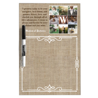 Rustic Wedding Instagram Photo Grid Wood Burlap Dry-Erase Whiteboard