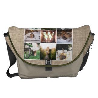Rustic Wedding Instagram Photo Grid Wood Burlap Messenger Bags