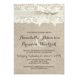 Rustic Wedding Invitation | Burlap Lace Bow Look