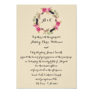 Rustic Wedding Invitation Floral Wedding Invite