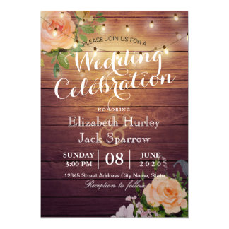 Rustic Wedding Invitation Floral Wood String Light