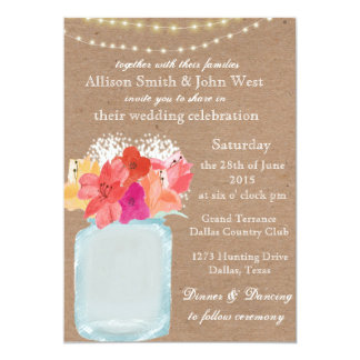 "Rustic Wedding Invitation - Mason Jar Charm 5"" X 7"" Invitation Card"