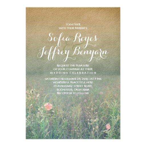 Rustic Wedding Invitation - The Summer Meadow Personalized Invite