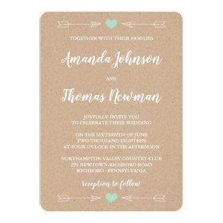 Rustic Wedding Invitation with arrows