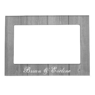 Rustic wedding magnetic photo frame | wood panel