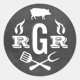 Rustic Wedding Monogram | Black Chalkboard BBQ Classic Round Sticker