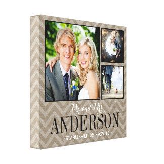 Rustic Wedding Monogram Photo Collage Canvas Canvas Print