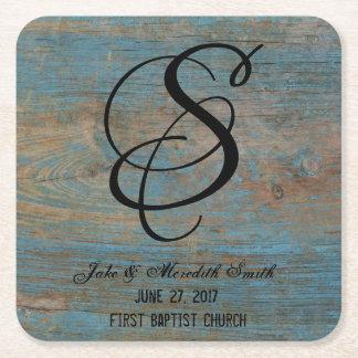 Rustic Wedding Monogram Worn Paint Look Coasters