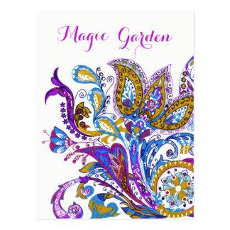 Rustic  wedding ornament. Stylish paisley design Postcard