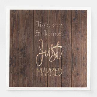 Rustic Wedding Party Brown Country Just Married Paper Napkin