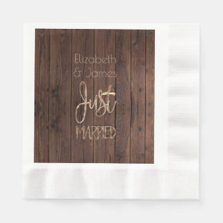 Rustic Wedding Party Brown Country Just Married Paper Napkins