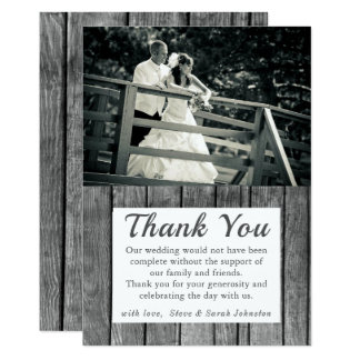 Rustic Wedding Photo Thank You Cards