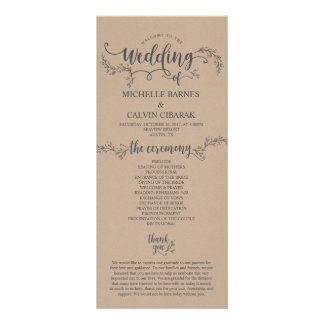 Rustic Wedding program card in kraft background