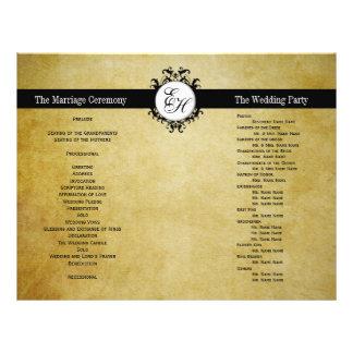 Rustic Wedding Program Vintage Monogram Flyers