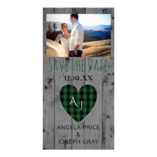 Rustic Wedding Save the Date Plaid Heart Wood Customised Photo Card