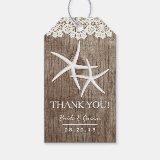 Rustic Wedding Starfish Laced Barn Wood Thank You Gift Tags