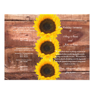 Rustic Wedding Sunflower Country Wedding Program 21.5 Cm X 28 Cm Flyer