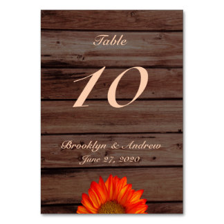 Rustic Wedding Table Numbers With Sunflower Table Card