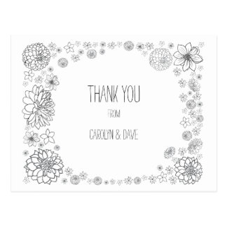 Rustic Wedding thank you postcard, boho  flowers Postcard