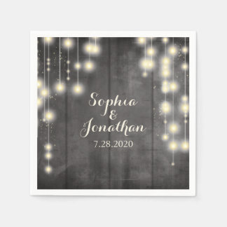Rustic Wedding Twinkle String Lights Barn Wood Disposable Serviettes
