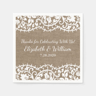 Rustic Wedding VIntage Lace, Burlap Linen Custom Disposable Napkin