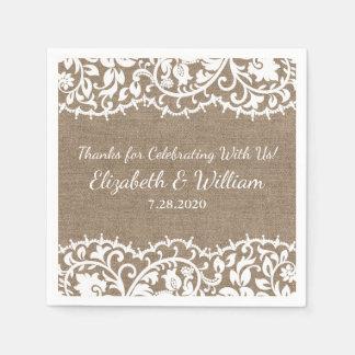 Rustic Wedding VIntage Lace, Burlap Linen Custom Paper Serviettes