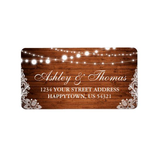 Rustic Wedding Wood String Lights Lace Address Label
