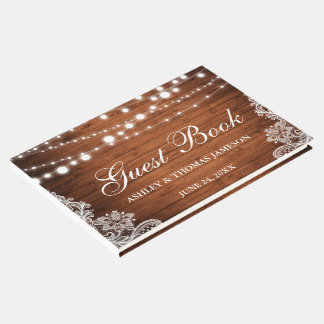 Rustic Wedding Wood String Lights Lace Guest Book
