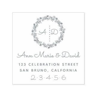 Rustic Wedding Wreath Custom Names Return Address Self-inking Stamp