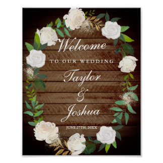 Rustic Welcome Wedding Sign Blush Gold Watercolor