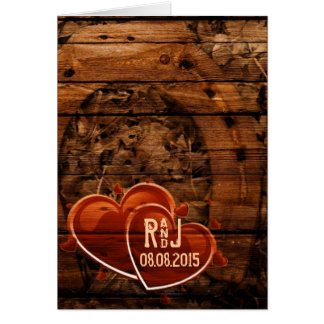 Rustic Western Barn Wood Horseshoe Wedding Card