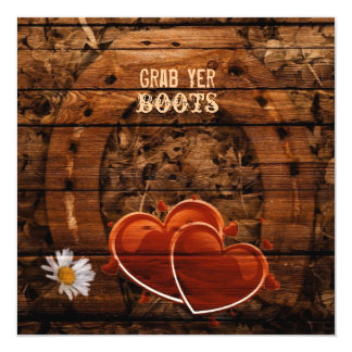 Rustic Western Barn Wood Horseshoe Wedding Card