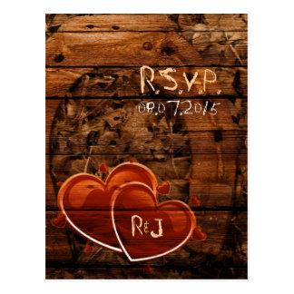 Rustic Western Barn Wood Horseshoe Wedding RSVP Postcard
