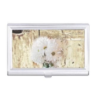rustic western barn wood mason jar white daisy business card holder