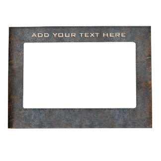 Rustic Western Brown Leather Look Texture Old Worn Magnetic Frame