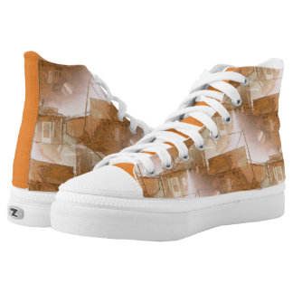 Rustic Western Building in Tiled Pattern High Tops