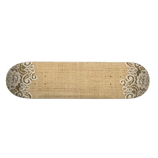 rustic western country burlap and lace skateboard deck