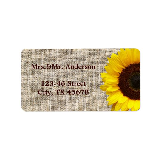 Rustic Western Country Burlap Sunflower Wedding Label