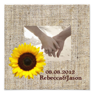 Rustic Western Country Burlap Sunflower Wedding Photo