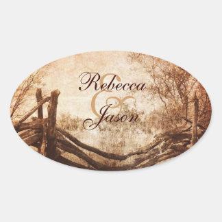 rustic western country farm wedding oval sticker