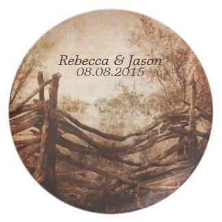 rustic western country farm wedding plate