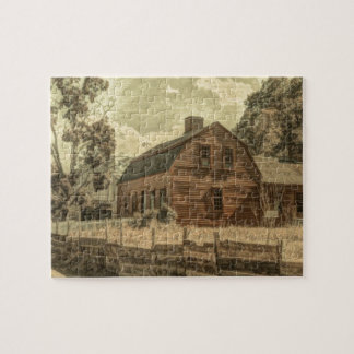 Rustic Western Country Farmhouse Chic Red Barn Jigsaw Puzzle
