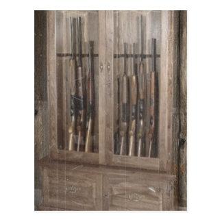 Rustic Western Country Firearm Gun Cabinet Rifles Postcard