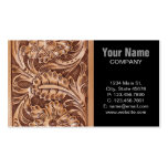 Rustic western country pattern tooled leather business card template