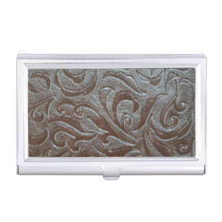 Rustic western country pattern tooled leather business card holder