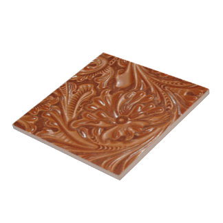 Rustic western country pattern tooled leather ceramic tile