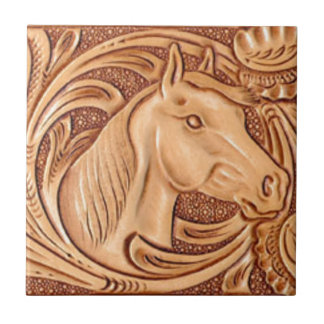 Rustic western country pattern tooled leather small square tile