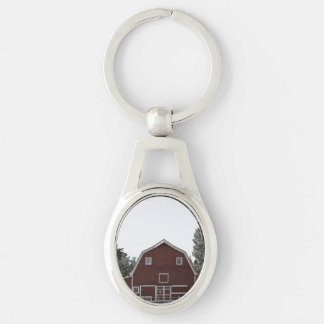 Rustic western country rural farmhouse red barn key ring