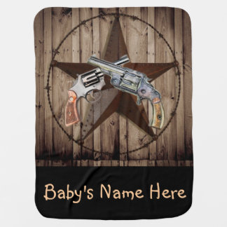 rustic western country texas star cowboy pistol baby blanket