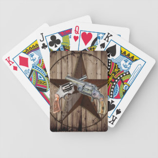 rustic western country texas star cowboy pistols bicycle playing cards